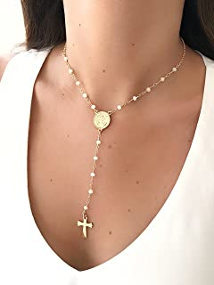 dfdb2ab71 LESLIE BOULES Rosary Beads Necklace 16