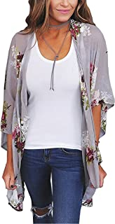 Womens Kimono Cardigan Floral Print Sheer Capes Loose...
