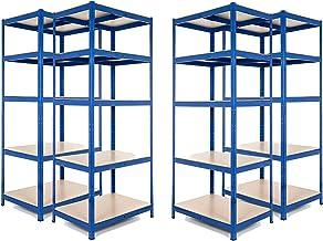 Estanter/ía de acero resistente para garaje de 2 bah/ías 275 kg por estante 5 niveles, 1800 mm de alto x 900 mm de ancho x 450 mm de profundidad