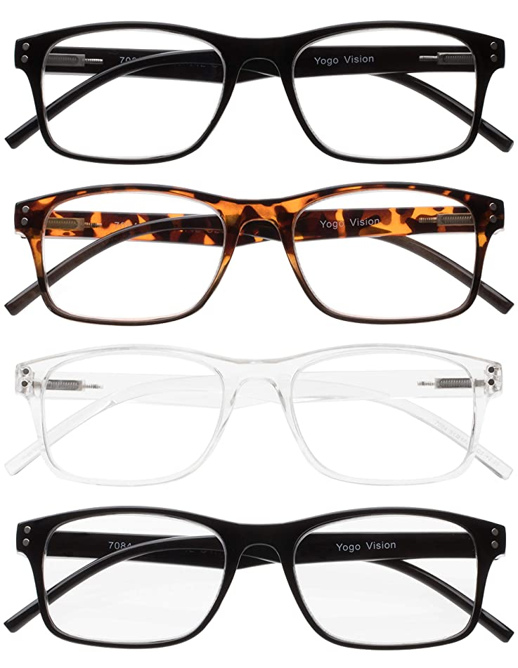 Reading Glasses 4 Pack Spring Hinge Comfort Fashion Readers for Men and Women