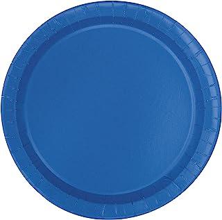 Unique Industries, Cake Paper Plates, 20 Pieces - Royal Blue