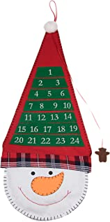 Christmas 24 Day Hanging Cloth Advent Calendar   Red and White Snowman with Tall Hat Christmas Design   Traditional Holiday Christmas Decor Theme   Perfect for Home or Office   Measures 26.5