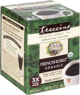 Teeccino Herbal Tea – French Roast – Roasted Chicory | Prebiotic | Caffeine Free | Acid Free | Coffee Alternative, 10 Tea ...