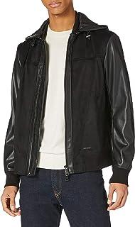 Armani Exchange Men's Black Allover Faux Leather Jacket