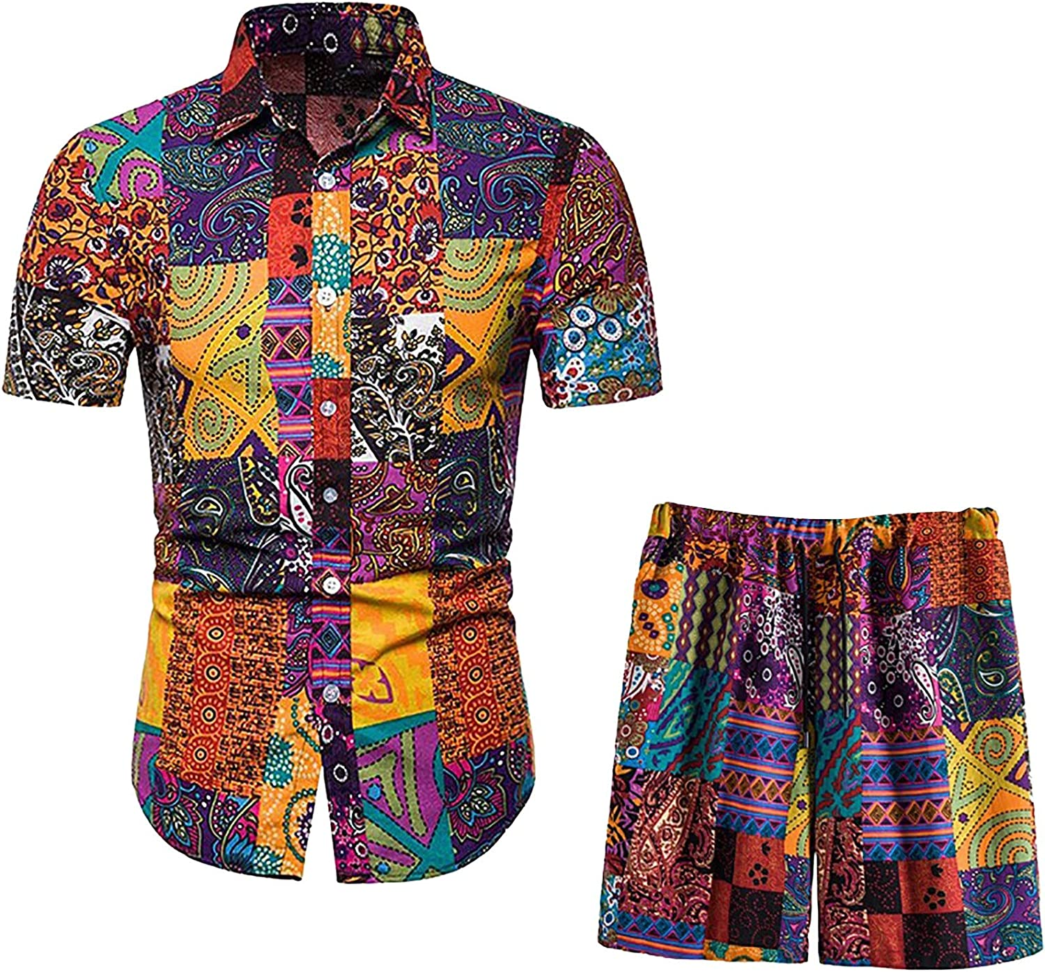 Men's Hawaiian 2 Piece Outfits Shirts and Shorts Suit Casual Printed Button Down Shirt Suits