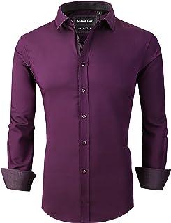 Casual King Mens Dress Shirts Wrinkle-Free Long Sleeve Button Down Formal Shirt