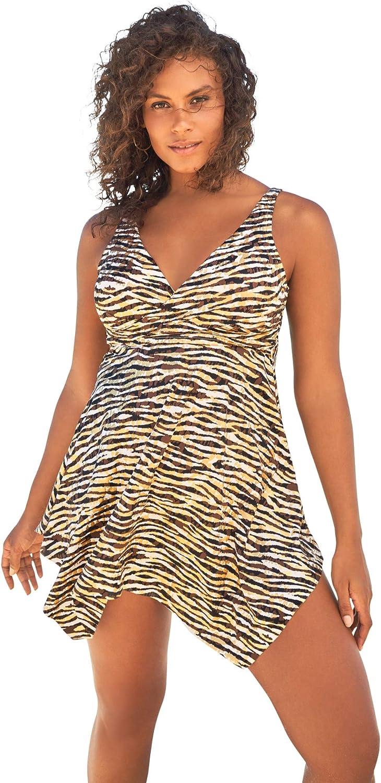 Swimsuits For All Women's Plus Size Handkerchief-Hem Two-Piece Swim Dress Swimsuit