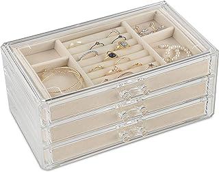 Jewelry Organizer Box, Jewelry Box for Women with Drawers, Clear Jewelry Organizer, Acrylic Jewelry Organizer with Velvet Lining Jewelry Box for Girls, Bracelet Necklace Ring Box