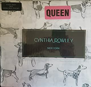Cynthia Rowley Queen Cotton Sheet Set Penciled Standing Dogs Poodle Scotty Dalmation Beagle Pug Chi Dachshund