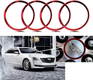 4 Pieces Red Alloy Car Wheel Rim Center Cap Hub Rings Decoration For Cadillac ATS CT6 CTS Escalade XT5 SRX