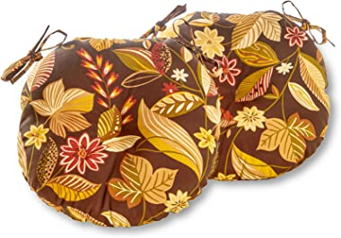 Greendale Home Fashions Round Indoor/Outdoor Bistro Chair Cushion, Timberland Floral, 15-Inch, Set of 2