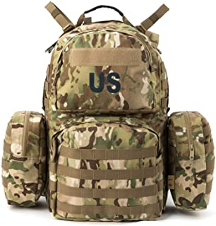 Military Army Backpack, MOLLE 2 Medium Rucksack with Shoulder Straps and Wasit Belt, Internal Frame, Multicam