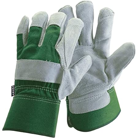 FZTEY Thick Gardening Work Gauntlets , Reinforced Leather Heavy duty Cut Knife Thermal Gloves For Men and Women Lady Gift , Safety Protective Rigger Washable Gripper (L, Green, 1 Pairs)
