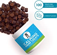Calming Treats for Dogs – Great Anxiety and Stress Relief, Calming Aid and Composure Support - 100 Tasty Chews - with Hemp Oil, Melatonin, Thiamine and Camomile, Made in USA