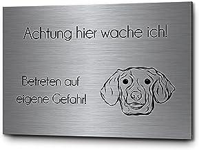 Hondenwaarschuwingsbord voor buiten, teckel, dashond, voorzichtig, hond, hier wache ik | mooie gravure op roestvrij staal ...
