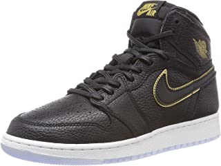Jordan Kids Air 1 Retro Hi OG BG Black/Metallic Gold Basketball Shoe (5.5 Y US)