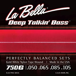 La Bella 750G Gold White Nylon Tapewound Bass Strings - Light