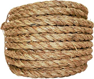 SGT KNOTS Manila Rope | Size 1/4-3 inch | Length 10-1200 ft | Tan Rope/Brown Rope - Twisted Manila 3 Strand Natural Fiber Cord | Ropes for Indoor and Outdoor Use | 3/4 inch x 100 feet