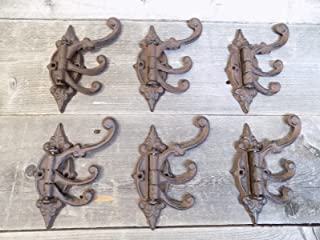 Cast Iron Swivel Coat Hooks | Antique/Vintage Stye - Great for Coats, Hats, etc. - Pack of 6