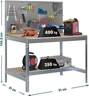 Simonrack 778100045159062 Banco de trabajo (1440 x 900 x 600 mm, 2 estantes y 1 panel perforado, 400 kg-250 kg) color galv...