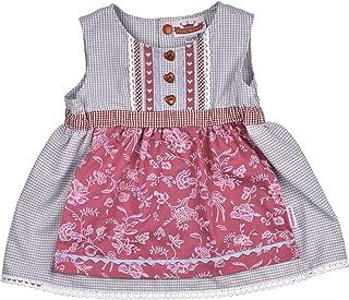 Eisenherz Dirndl Kleidchen, Süßer Einteiler, Angenähte Schürze, 100% Baumwolle, Farbe Grau Rosa, Tracht für fesche Mädchen