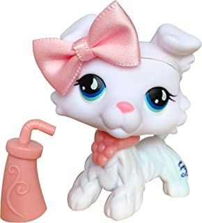 lpsloverqa lps White Collie Custom #032 Brown Tail Blue Eyes with lps Accessories Collar Bows Collectable Figures