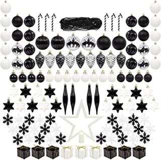 ITART 127ct Christmas Tree Ornaments Decorations Assortment Including Tree Topper Balls Snowflakes Stars Pine Cones Miniature Gift Boxes and Beads Garlands Finial (White and Black)