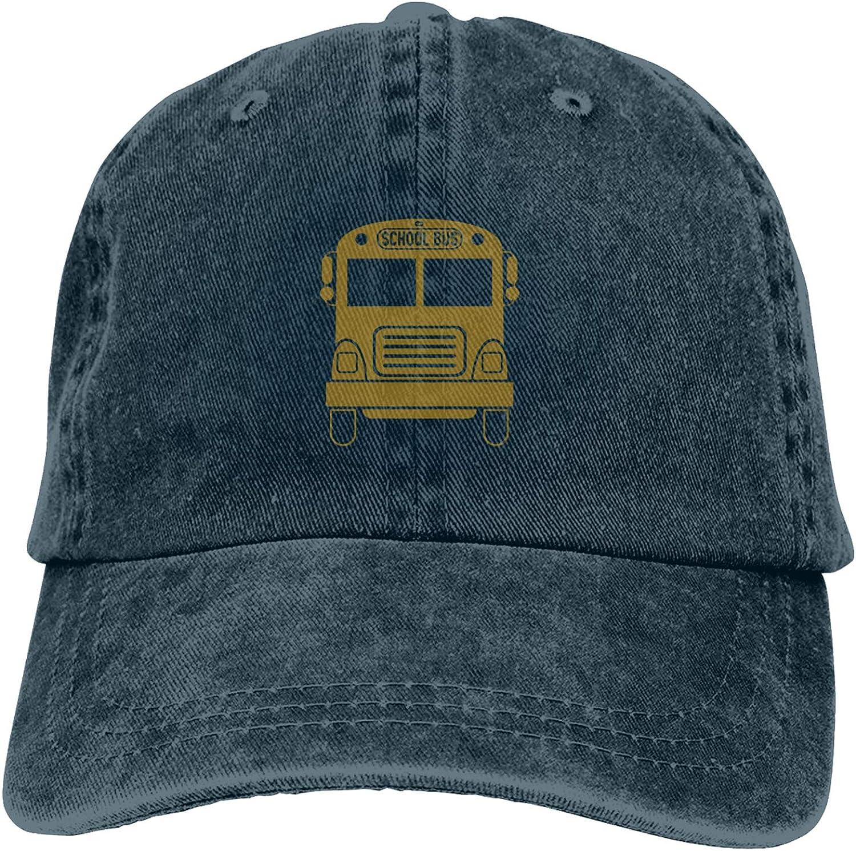 School Bus Unisex Adjustable Cowboy Hat Adult Cotton Baseball Cap