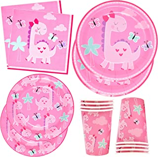 Pink Dinosaur Party Supplies Set Includes 24 9