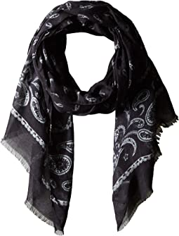 Printed Feather Scarf V1039U4