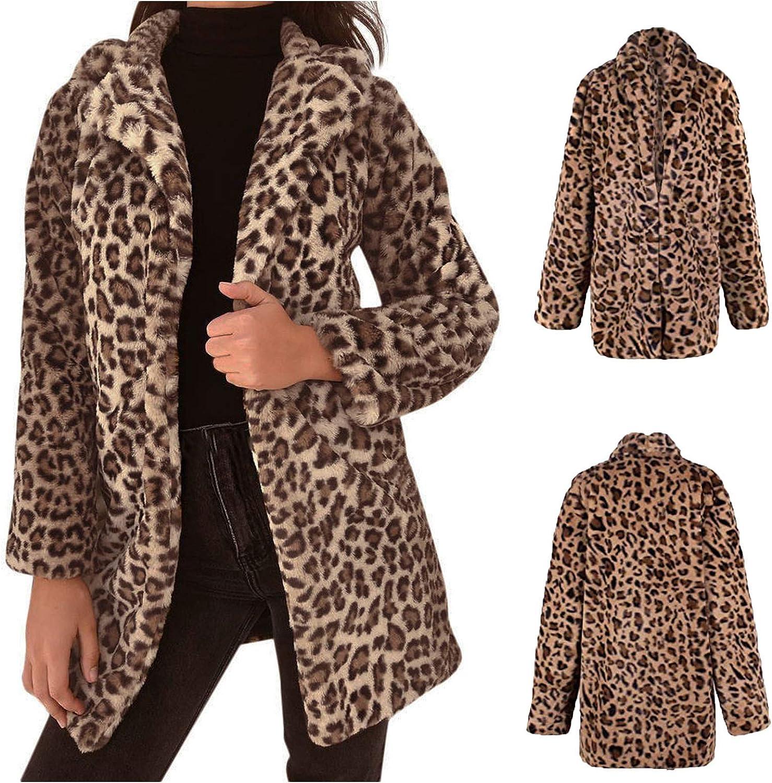 Limsea Faux Fur Warm Jacket for Women Lapel Leopard Print Outwear Autumn Winter Casual Tunic Oversized Tops
