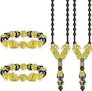 Ubjuliwa Feng Shui Bracelet Necklace Set Pi Xiu Bracelet Real Black Obsidian Wealth Bracelet for Women Men Good Luck Jewel...