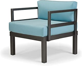 Telescope Casual Furniture Ashbee Aluminum Sectional Cushion Arm Chair with 2 Detachable Connection Clips, Mango, Textured...