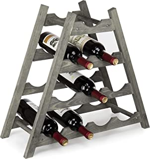 MyGift Rustic Gray Wood Countertop Wine Rack, 10-Bottle Storage Organizer