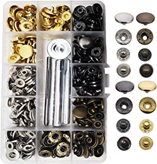 Meikeer 80 Stes Snap Fasteners Kit Snaps Buttons 15mm Metal Snaps with 4 Pieces Fixing Tools 4 Color Clothing Snaps Kit for Thin Leather Jacket Jeans Wear Bracelet Bags (4 Color)