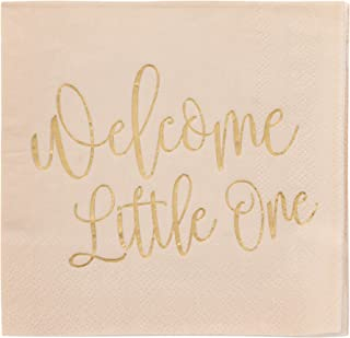 Blue Panda 50-Pack Disposable Paper Cocktail Party Napkins for Baby Shower, Welcome Little One, Gold Foil Print on Light Tan, 3-Ply, Unfolded 10 x 10 inches