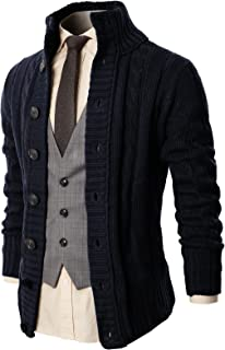 H2H Mens Casual Slim Fit Cardigan Sweater Knitted Thermal Button Down Closure