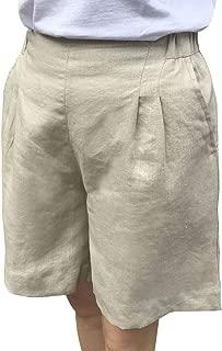 IXIMO Women's 100% Linen Shorts Front Pleated Back Elastic High Waist Wide Leg Shorts