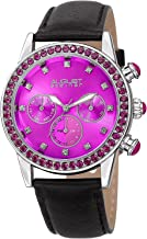 August Steiner ASN823 Swarovski Crystal Studded Women's Watch with Casual Genuine Leather Bracelet Strap, Sunray Dial and Multifunction Day, Date and AM/PM – Swiss Quartz
