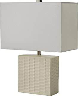 Stone & Beam Modern Square Textured Lamp With LED Light Bulb - 15 x 8 x 20.3 Inches, White