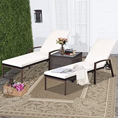 Tangkula Set of 2 Patio Furniture Outdoor Rattan Wicker Lounge Chair Set Adjustable Poolside Chaise with Armrest and Removabl