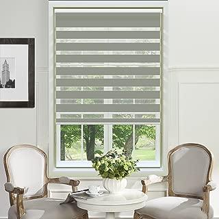 PASSENGER PIGEON Zebra Window Blinds, Premium Light Filtering Horizontal Dual Layer, Cord Loop Light Grey Window Shades, 22