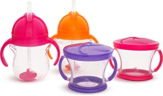 Munchkin Happy Snacker Snack Catcher & Sippy Cup Set, 4 Pack, Pink/Purple/Orange