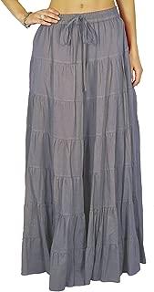 Phagun Women's Summer Cotton Skirt Ethnic Design Drawstring Waist