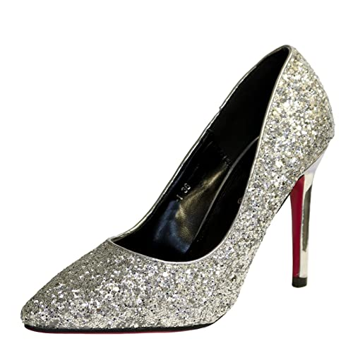 b28be7d9e271 Rock on Styles Ladies Party Prom Evening Super Sparkly Glittery Pink Sole High  Heel Court Shoes