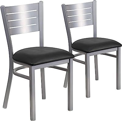 Flash Furniture 2 Pack HERCULES Series Silver Slat Back Metal Restaurant Chair - Black Vinyl Seat