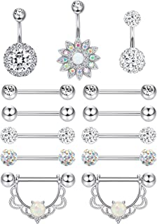 11-13PCS 14G Stainless Steel Nipplerings Nipple Tongue Belly Button Rings CZ Opal Barbell Body Piercing Jewelry