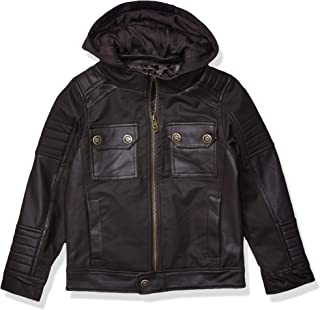 Urban Republic Toddler Boys Textured Faux Leather Jacket, Darkbrown, 4T