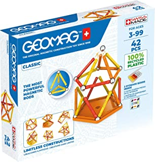 Geomag Classic - 42 Pieces - Magnetic Construction for Children - Green Collection - 100% Recycled Plastic Educational Toy...