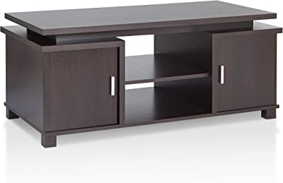 """Furniture of America Maxsin Contemporary Rectangular Coffee Table with Two-sided Doors Cabinet and 2 Open Shelves, 46"""", Espresso"""